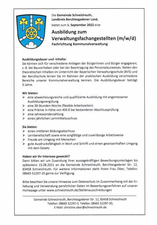 Stellenanzeige - Ausbildung zum Verwaltungsfachangestellten (m/w/d) 2022