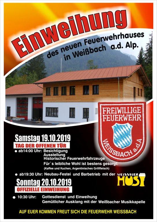 Plakat Feuerwehrhauseinweihung Weißbach a.d.A.