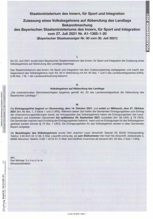Bekanntmachung - Zulassung Volksbegehren Landtag