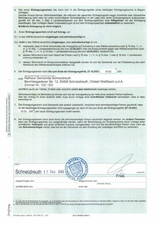 Bekanntmachung Volksbegehren WVZ und Erteilung Eintragungsschein