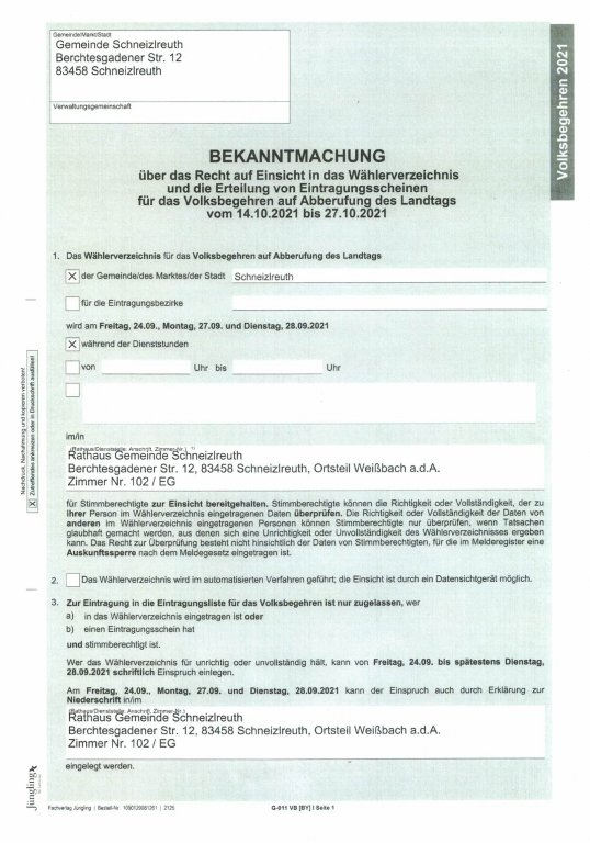 Bekanntmachung Volksbegehren WVZ u. Erteilung Eintragungsschein